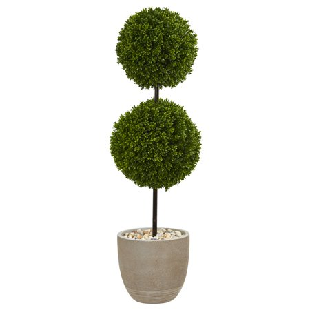 Nearly Natural 4 ft. Boxwood Double Ball Topiary Artificial Tree in Oval Planter UV Resistant (Indoor/Outdoor) Boxwood Pieces 4' King