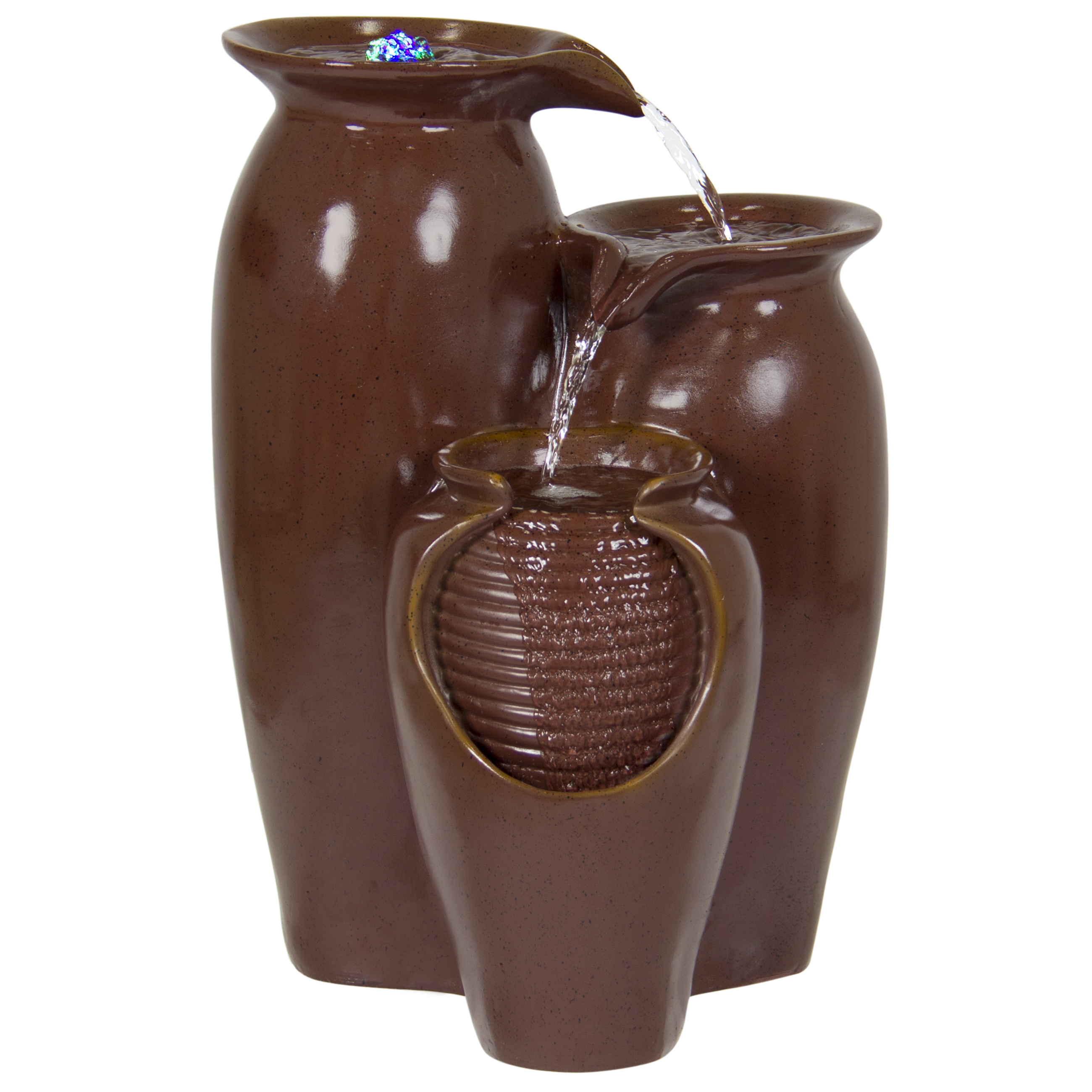 Best Choice Products Home Accent Indoor Outdoor 3 Tier Jar Fountain W/ LED Lights, Brown