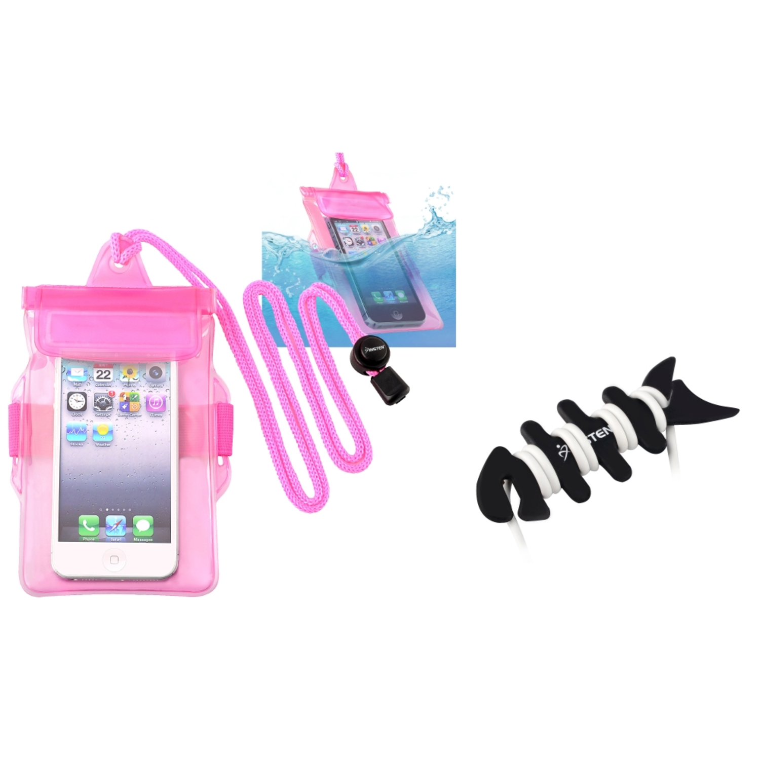 Insten Sport Waterproof Bag Case Pink+Fishbone Wrap For Apple iPhone 5 5G 5th 4 4S 4GS Gen Samsung i9190 Galaxy S4 Mini