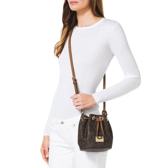 a734439e1bcf83 Michael Kors - Michael Kors Mini Jules Drawstring BROWN Cross Body Bag -  Walmart.com