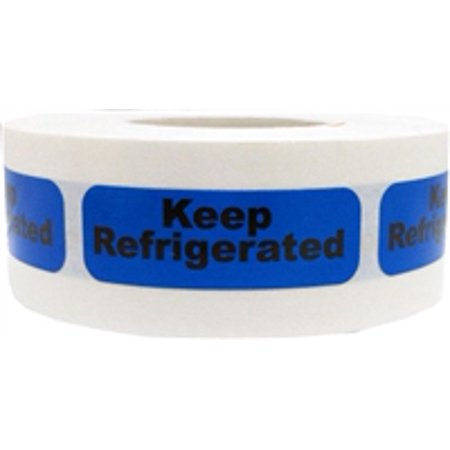 0.5' Length Labels - Blue with Black Keep Refrigerated Stickers, 0.5 x 1.5 Inches in Size, 500 Labels on a Roll