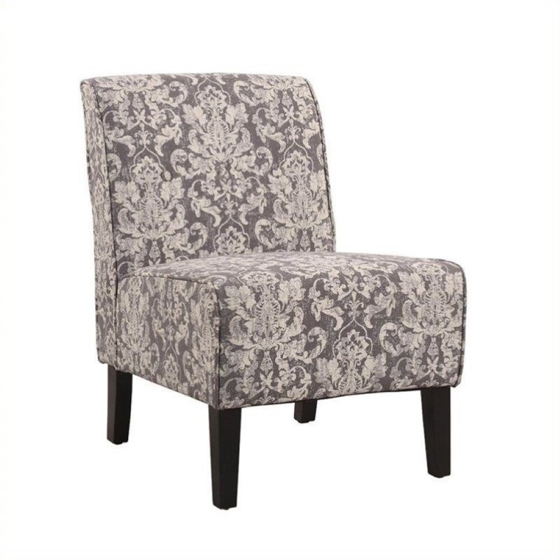 Atlin Designs Accent Fabric Slipper Chair in Gray Floral Pattern