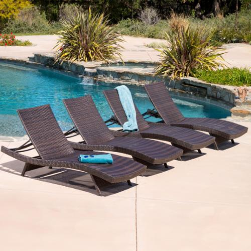 Outdoor Brown Wicker Adjustable Chaise Lounge Chairs (Set of 4)