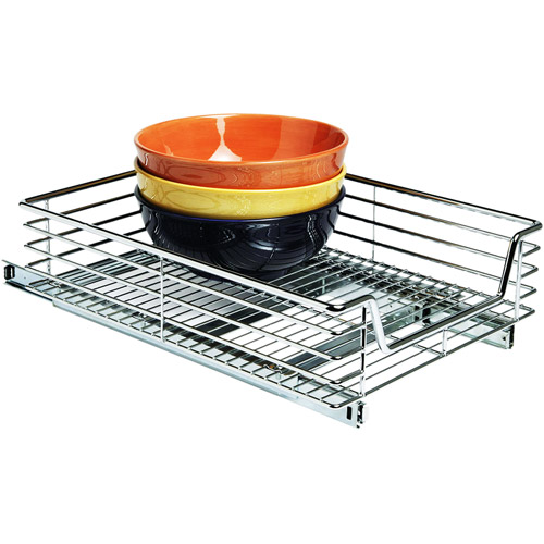 "Glidez Heavy-Duty 14.5"" Wide Extra Deep Sliding Cabinet Organizer, Chrome"