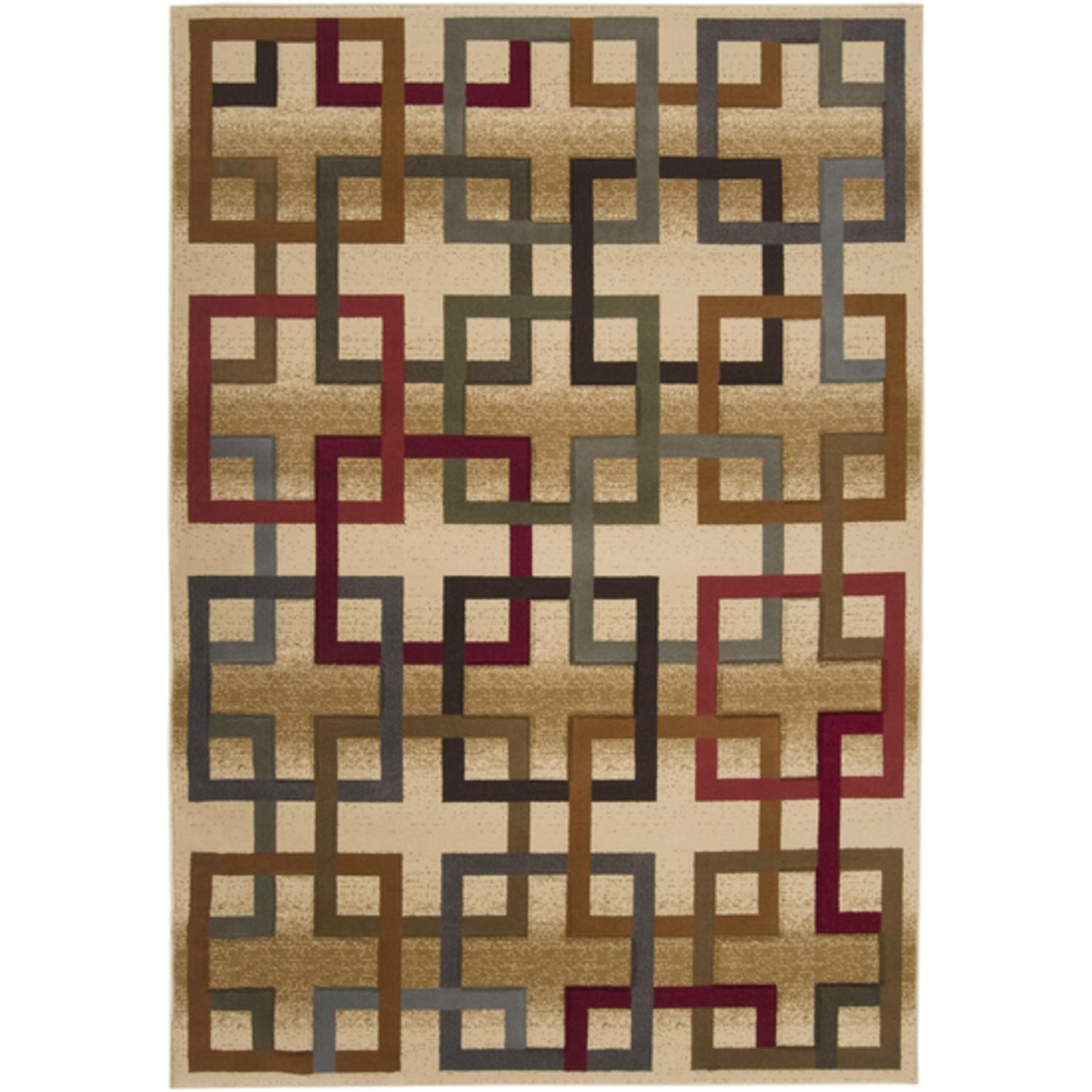 2.17' x 3.25' Majestic Square Puzzle Links Maroon and Sepia Area Throw Rug