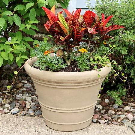 Sunnydaze Prescott Flower Pot Planter, Outdoor/Indoor Unbreakable Double-Walled Polyresin, Fade-Resistant Pebble Finish, Set of 4, Large 18-Inch Diameter ()