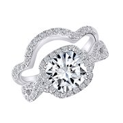 14k White Gold Plated Sterling Silver Center 2ct 7.5X7.5mm G-H-I Color Cushion Cut Created Moissanite Halo Engagement Ring Bridal Set 2 Pieces Ring Size-4