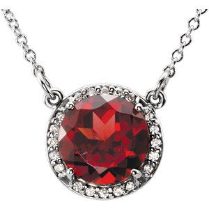 14K White Mozambique Garnet and .04 CTW Diamond Necklace by