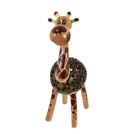Wooden Giraffe Coconut Shell Handmade Figurine Sculpture
