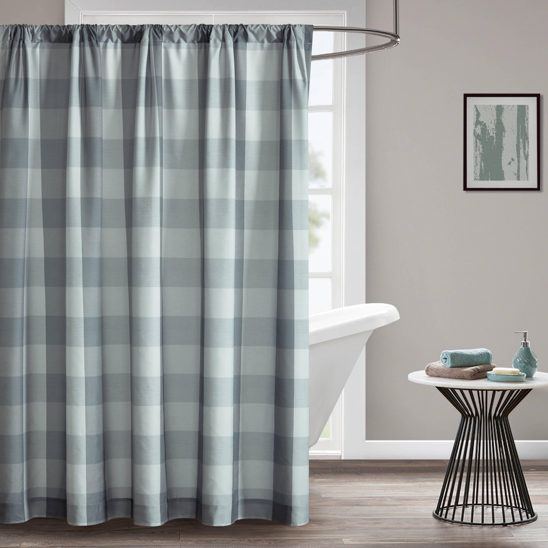 Mainstays Grey Buffalo Check Shower Curtain With Rod Slit Walmartcom