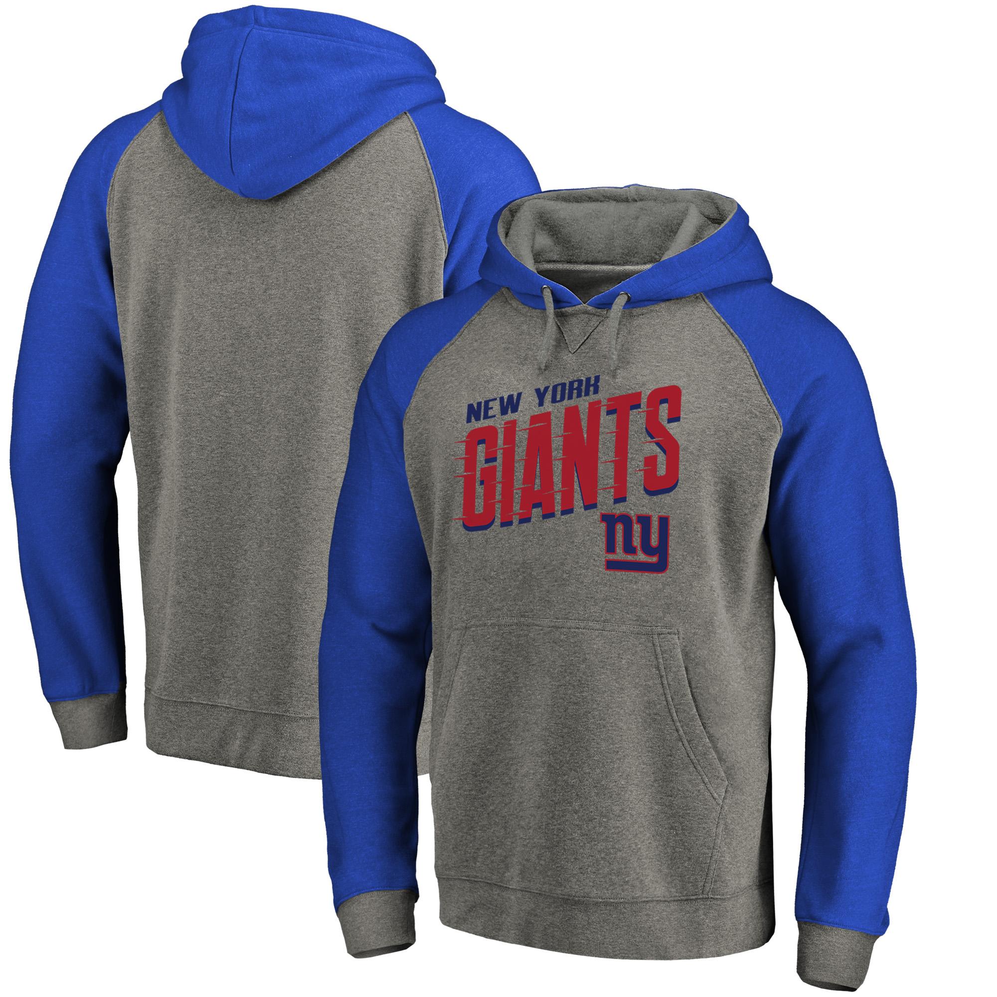 New York Giants NFL Pro Line by Fanatics Branded Big & Tall Slant Strike Tri-Blend Raglan Pullover Hoodie - Heathered Gray