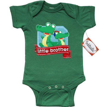Inktastic Little Brother Alligator Infant Creeper Baby Gift One Piece Bodysuit