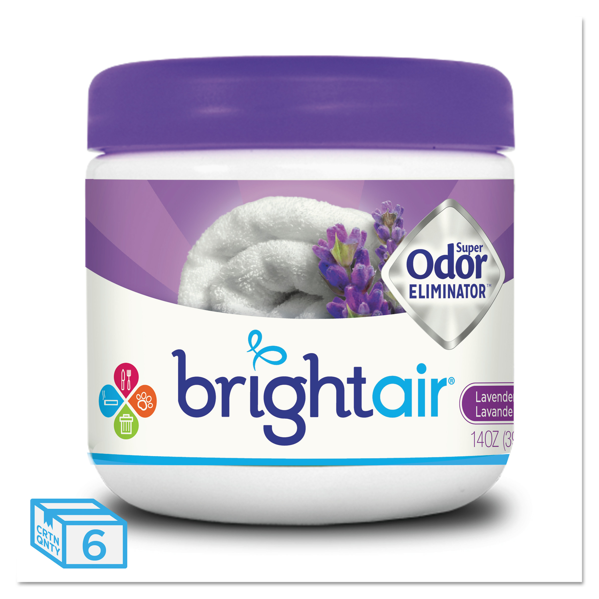 BRIGHT Air Super Odor Eliminator, Lavender and Fresh Linen, Purple, 14oz