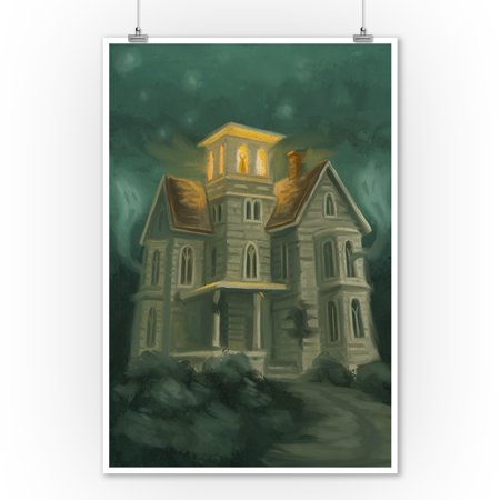 Haunted House - Halloween Oil Painting - Lantern Press Artwork (9x12 Art Print, Wall Decor Travel Poster) - Halloween Oil Paintings