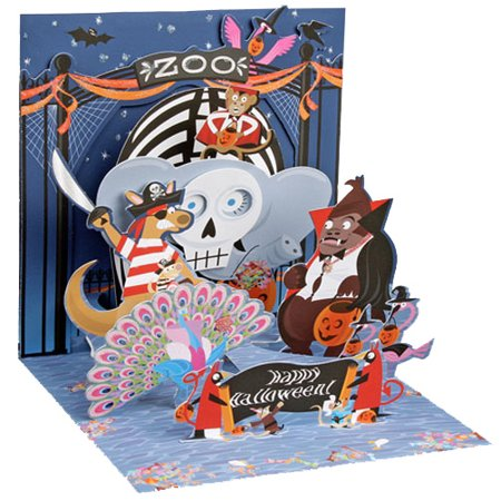 Up With Paper Halloween at the Zoo Pop-Up Halloween Card - Halloween Pop Up Cards To Make