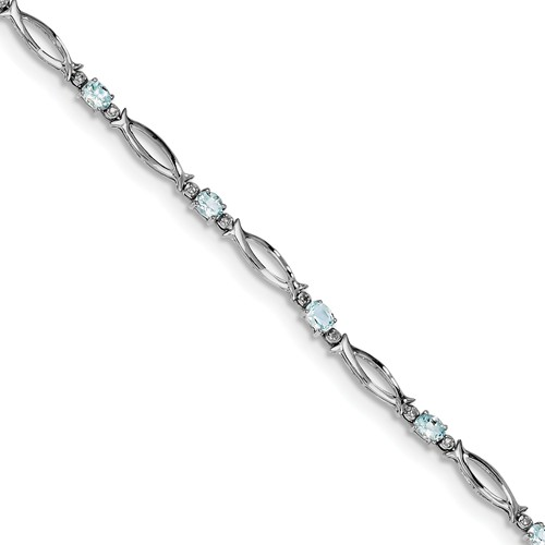 Sterling Silver Aquamarine and Diamond Bracelet. Gem Wt- 1.3ct by Jewelrypot