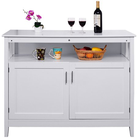 Costway Modern Kitchen Storage Cabinet Buffet Server Table Sideboard Dining Wood White
