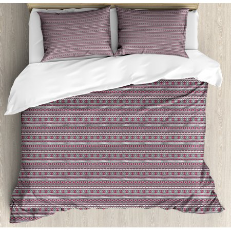 Tribal Queen Size Duvet Cover Set, Pattern in Bohemian Style with Ethnic Motifs Geometric Design Pink and Grey, Decorative 3 Piece Bedding Set with 2 Pillow Shams, Grey Magenta White, by Ambesonne ()
