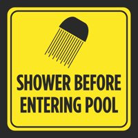 Shower Before Entering Pool Picture Print Yellow Black Caution Notice Swim Swimming Pools Hot Tub Safety Signs, 12x12