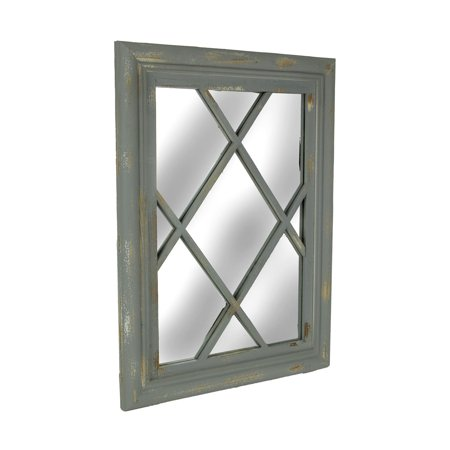 Distressed Grey Wood Frame Lattice Wall Mirror ()