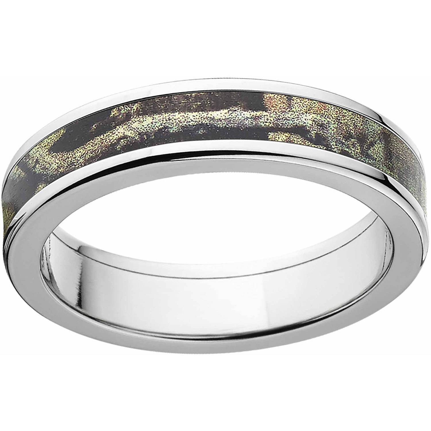 Mossy Oak Break Up Infinity Men's Camo 5mm Stainless Steel Wedding Band with Cross Brushed Edges and Deluxe Comfort Fit