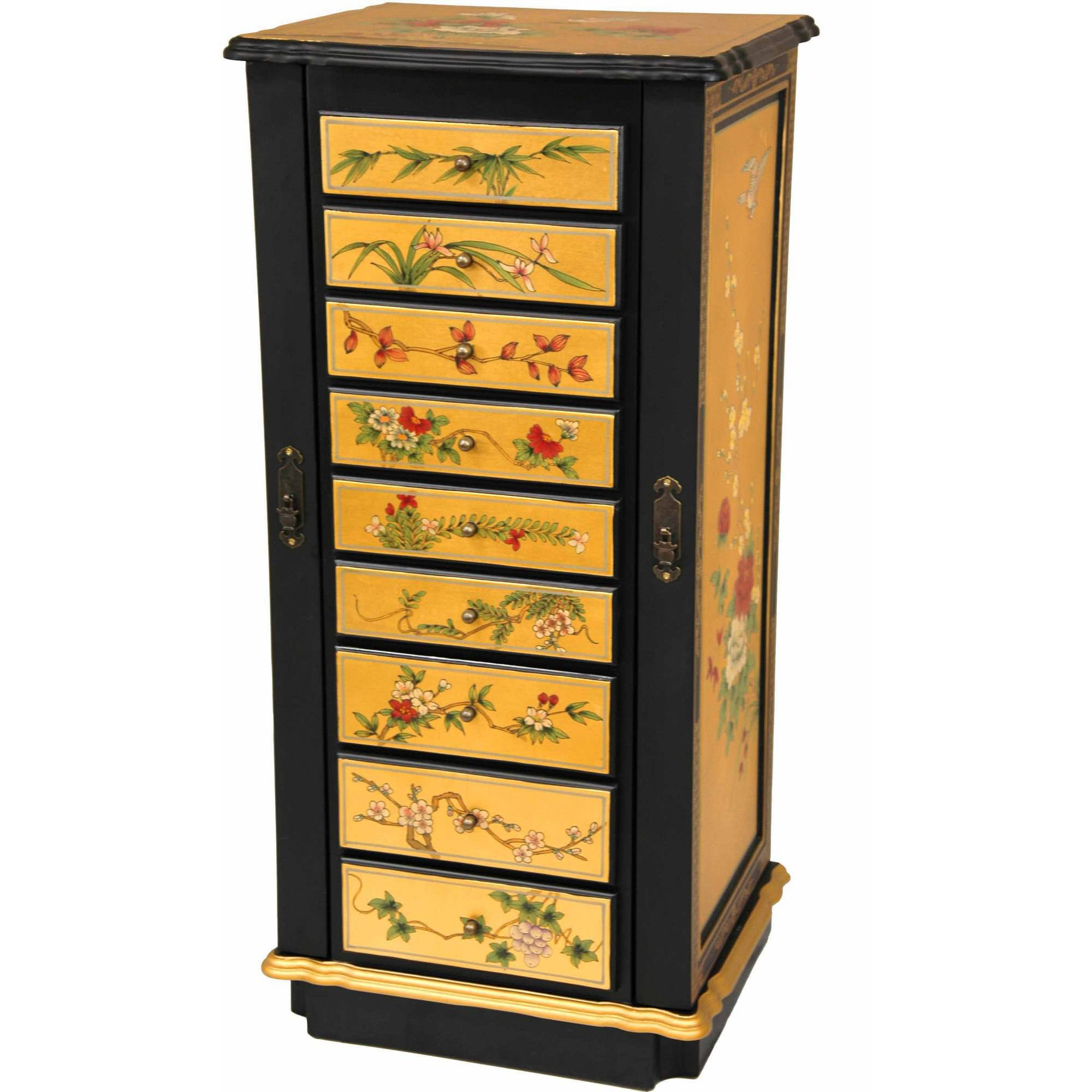 9-Drawer Gold Lacquer Jewelry Cabinet