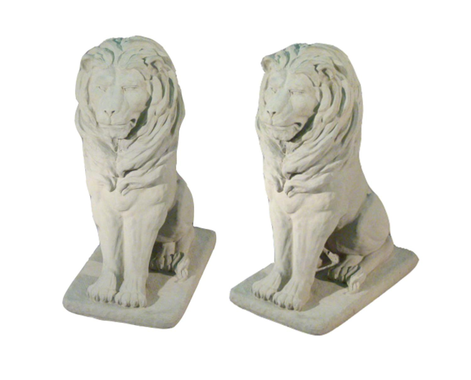 Pack of 2 Regal Sitting Lion Cast Stone Concrete Outdoor Garden Statues by Continental Craft