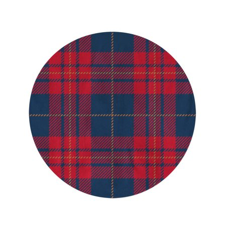 POGLIP 60 inch Round Beach Towel Blanket Checkered Blue and Red Tartan Plaid Scottish Pattern Flannel Travel Circle Circular Towels Mat Tapestry Beach Throw - image 1 de 2