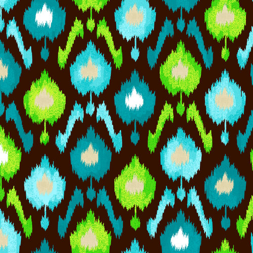 Creative Cuts Ikat Blooms Canvas Fabric By The Yard, Blue