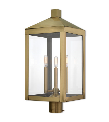 Outdoor Post Light 3 Light With Antique Brass Clear Candelabra Base 24 inch 180 Watts - World of Crystal