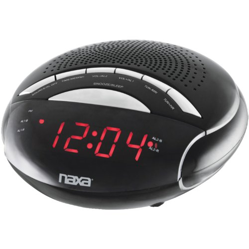 Naxa NAXNRC170B NAXA NRC170 PLL Digital Dual Alarm Clock with AM/FM Radio and Snooze