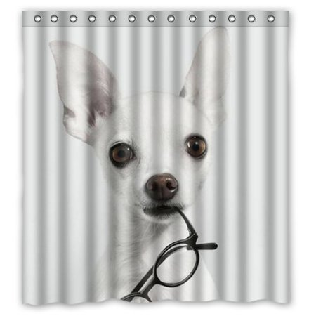 GreenDecor Cute Chihuahua Dog Waterproof Shower Curtain Set With Hooks Bathroom Accessories Size 66x72 Inches