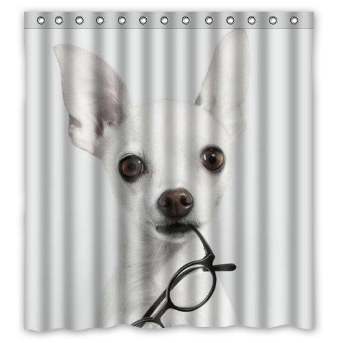 Cute Chihuahua Set Shower Curtain Decor Bathroom Bath Mat Polyester Fabric Hooks