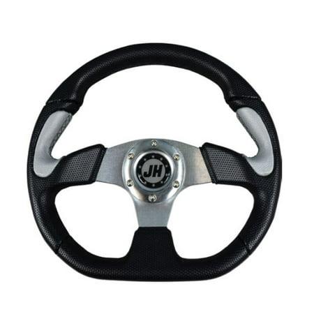 Bottom Golf (Silver Flat Bottom Deluxe Steering Wheel for STAR Classic Golf Cart)