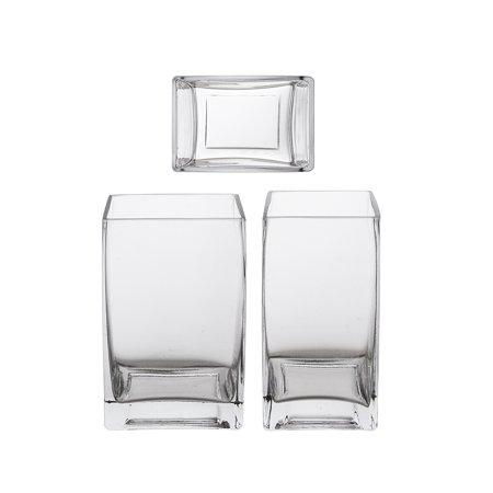 "Mega Vases - 3"" x 4"" x 5.5"" Rectangle Block Glass Vase - Set of 1, Clear"