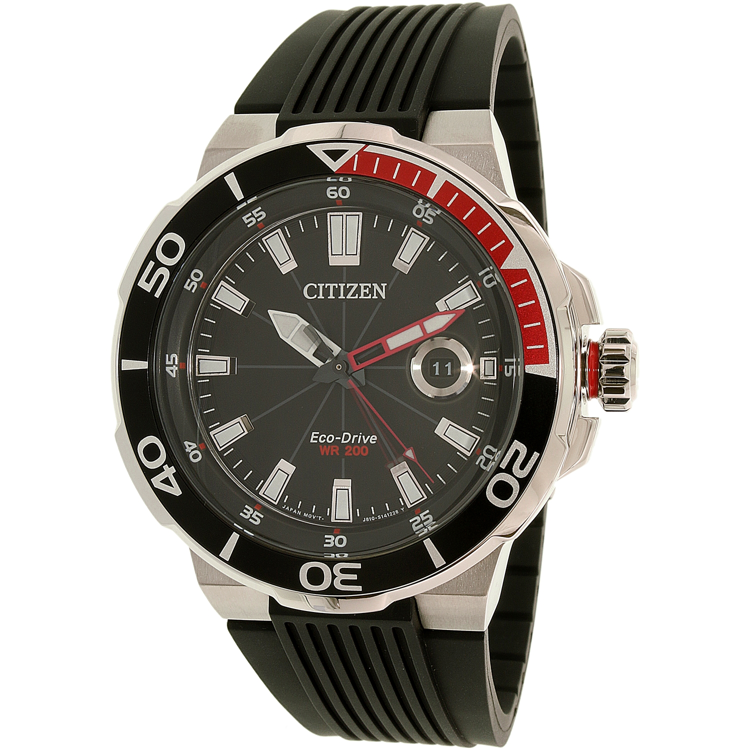Citizen Men's Eco-Drive AW1420-04E Silver Silicone Dress ...