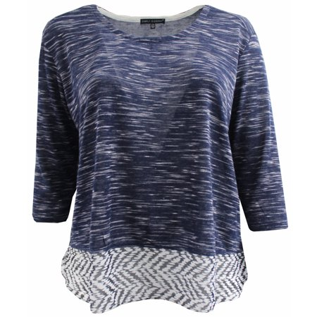 BNY Corner Women Plus Size Round Neck Sweater Knit Top Tee Blouse Shirt Navy White 1X 160.36