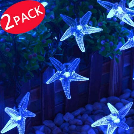 2pack qedertek starfish solar string lights fairy christmas 30 led decorative lighting for outdoor decorative - Outdoor Solar Christmas Lights