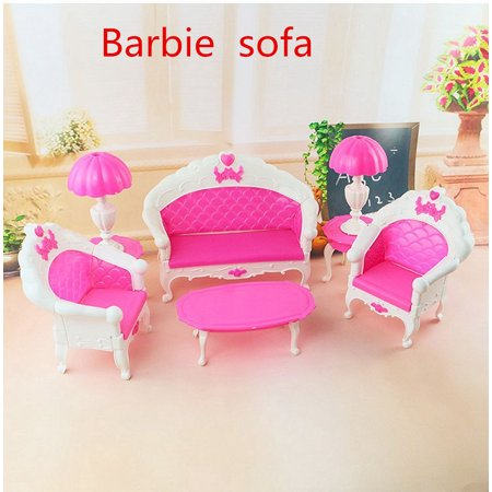 Lovely Dollhouse Doll MINI Vintage Furniture Playset Living Room Parlour Sofa Set Toy for Barbie Dolls