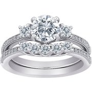 Majestic MicroPave CZ 3-Stone 2-Piece Bridal Set in Sterling Silver