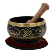 Gorgeous Meditation 8 Lucky Symbols Singing Bowl / Cushion / Mallet (Black)