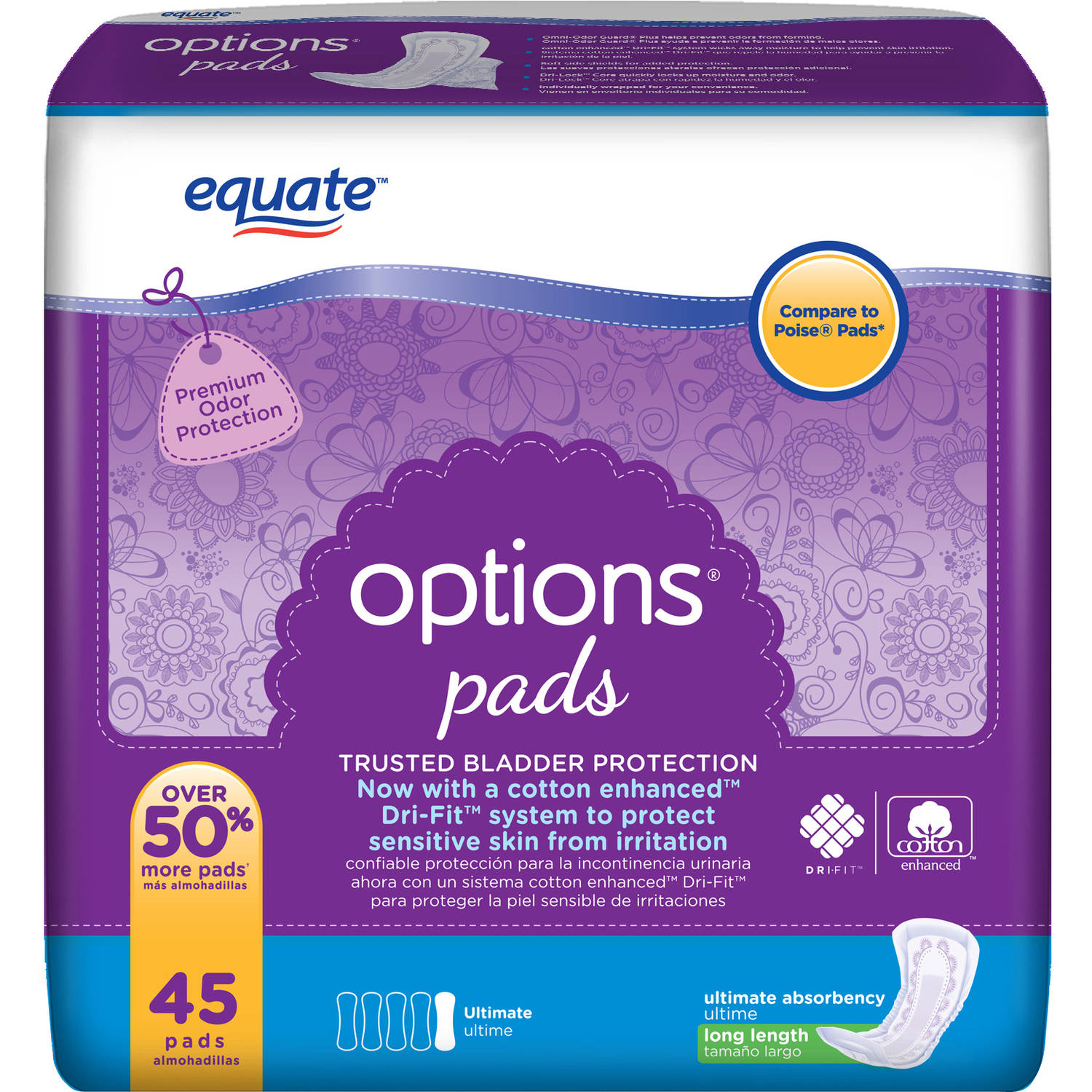 Equate Options Ultimate Long Length Incontinence Pads, 45 count