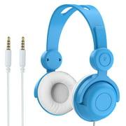 Vogek Kids Headphones, Foldable Wired On-Ear Headphones Headsets with 85dB Volume Limited, 3.5mm Audio Jack Children Headphones for Kids Blue