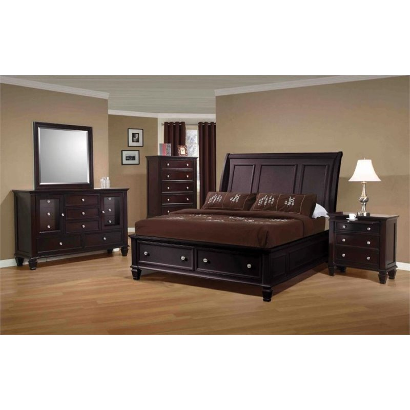 Coaster Furniture 5 Piece California King Sleigh Bedroom ...