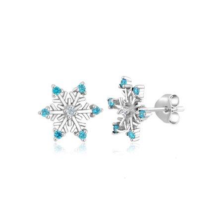 925 Sterling Silver Diamond Accent Snowflake Earrings With Blue -