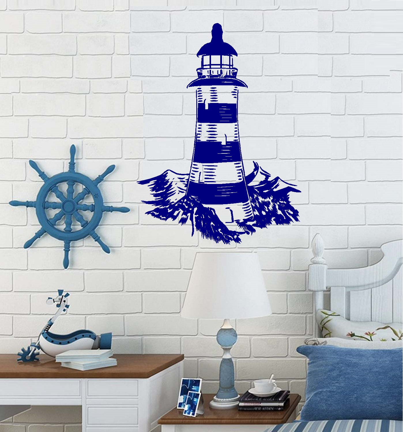 """Decal ~ Lighthouse ~ Wall or Window Decal 20"""" x 26"""" (Black)"""