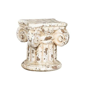 Distressed Cream Column Pedestal Candle Holder