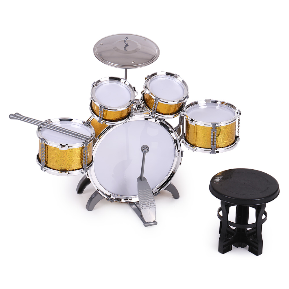 Children Kids Drum Set Musical Instrument Toy 5 Drums with Small Cymbal Stool Drum Sticks for Boys Girls by