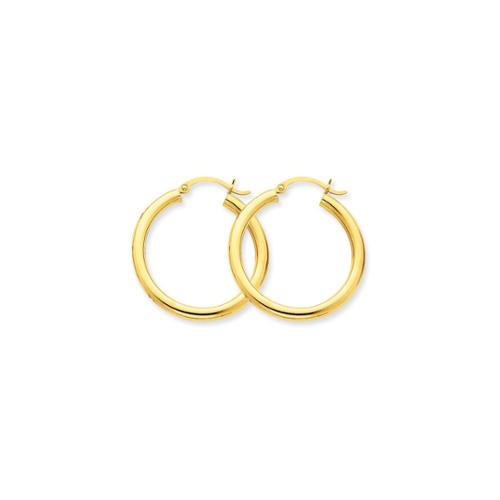 14k Yellow Gold 3mm Light Tube Hoop Earrings (0.9IN Long)