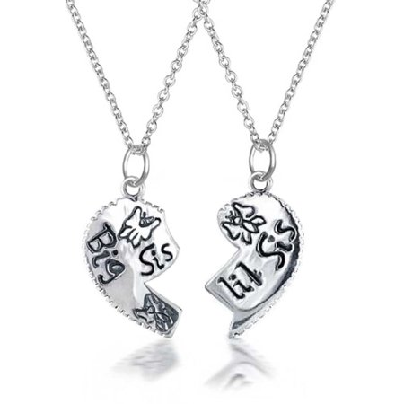 2 PCS Best Friend Big Sis Lil Sis Split Broken Puzzle Heart Break Apart Pendant Necklace For Sister Teen Sterling